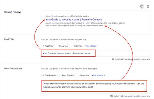 website audit meta description